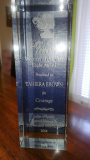 Tahiera is honored with Woman of Courage Award