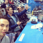 John working the NBC booth with Apolo in Sochi