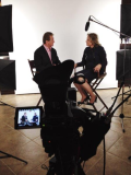 Back Stage photo of  Set of Joe Theismann interviewing Linda Shaffer-Vanaria