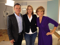Linda Shaffer-Vanaria on interview set with Kevin Harrington, original Shark on Shark Tank and Forbes Riley, the Queen of Selling on TV