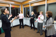 Workshop Participants learn to juggle by focusing on one thing at a time.
