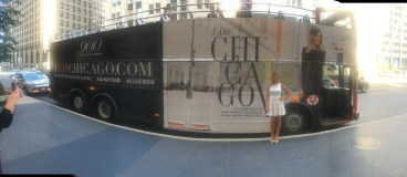 Val being featured on a double decker bus as part of the I Am Chicago campaign