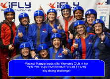Maggie leads a women's group in a sky-diving challenge